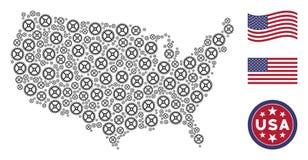 Состав американской карты стилизованный шестерни часов иллюстрация вектора