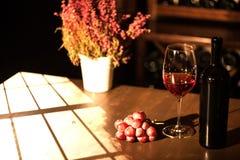 Состав бутылки, бокала вина и связки винограда помещенные около цветочного горшка на таблице в темноте Стоковая Фотография