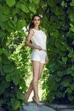 Состав блеска солнца парка прогулки платья красивой сексуальной женщины нося стоковое изображение