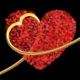 Состав Валентайн сердец золотое сердце 3d обнимает s Стоковое Изображение RF