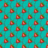 Состав вектора клубники безшовный Милая безшовная картина с смешными клубниками, ягода Смешной, плодоовощ шаржа Стоковая Фотография RF