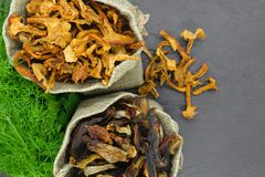Состав взгляда сверху сухих грибов подосиновика и лисичек установил в холсте с веником укропа и петрушки на черном камне стоковое фото rf