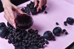 Состав вина, виноградины и слив стоковая фотография rf