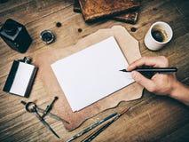 Состав винтажных элементов и чертежа руки Стоковые Изображения