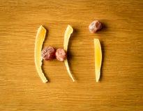 Состав высушенных плодоовощей на деревянной предпосылке Стоковая Фотография RF