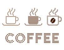 Состав глифа кофейных чашек с кофейными зернами иллюстрация штока
