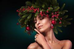 Состав девушки рождества Стиль причёсок зимы Стоковое Изображение