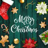 Состав дизайна продажи рождества poinsettia, ветвей ели, конусов, пряника, тросточки конфеты, падуба и других заводов иллюстрация вектора