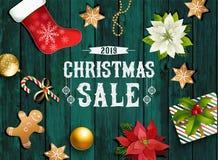 Состав дизайна рождества poinsettia, ветвей ели, конусов, пряника, тросточки конфеты, падуба и других заводов крышка иллюстрация вектора