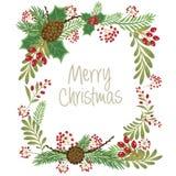 Состав дизайна рождества poinsettia, омелы, branc ели бесплатная иллюстрация