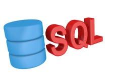 Составленный SQL логотип данным по поиска в базе данных языка запроса базы данных белизна предмета предпосылки 3d изолированная и Стоковые Фотографии RF