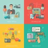 Состав дела концепции средств массовой информации плоский Стоковые Фотографии RF
