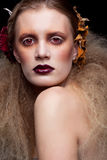 Состав женщины красоты хеллоуина Стоковая Фотография
