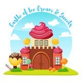 Состав замка мороженого иллюстрация штока