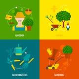 Состав значков огорода плоский Стоковые Изображения RF