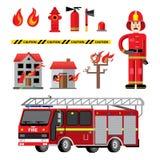 Состав значков отделения пожарной охраны плоский бесплатная иллюстрация