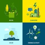Состав значков энергии Eco плоский иллюстрация штока