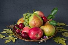 Состав зрелых плодоовощей и желтых листьев осени на черной предпосылке Принципиальная схема хлебоуборки Стоковые Изображения RF