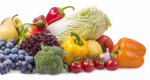 Состав изолированных фруктов и овощей Стоковое фото RF