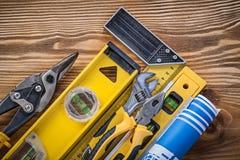 Состав инструментов конструкции на винтажной верхней части VI деревянной доски Стоковое Изображение RF