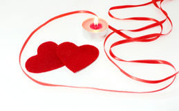 Состав и свечи сердца на день ` s валентинки Стоковое фото RF