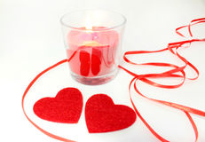 Состав и свечи сердца на день ` s валентинки Стоковая Фотография