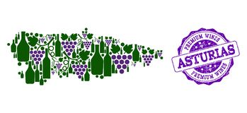 Состав карты вина виноградины провинции Астурии и наградные вина штемпелюют бесплатная иллюстрация