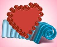 Состав красного сердца на предпосылке голубой штукатурки Стоковая Фотография RF