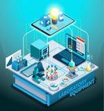Состав лабораторного оборудования равновеликий иллюстрация вектора