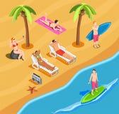 Состав людей каникул пляжа равновеликий иллюстрация штока