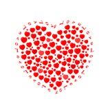 Состав: много небольшие красные сердца, положенные вне в форме большого сердца с любовью надписи иллюстрация штока