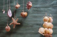 Состав моря с кораблем, seashells, космосом экземпляра на деревянном backg Стоковые Изображения RF