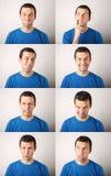 Состав молодого человека выражая различные эмоции Стоковая Фотография