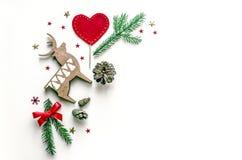 Состав Нового Года с оленем Предпосылка рождества для представления работы или текста Красивая поздравительная открытка Стоковое фото RF