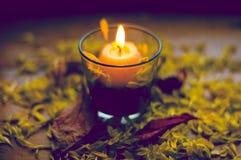 Состав осени романтичный горящей свечи Стоковые Фото