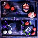 Состав пасхи с точкой польки яичек Стоковая Фотография