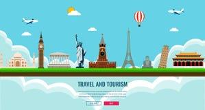 Состав перемещения с известными ориентир ориентирами мира Перемещение и туризм Шаблон вебсайта концепции также вектор иллюстрации бесплатная иллюстрация