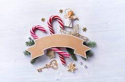Состав подарка рождества Помадки праздника рождества; украшение Стоковая Фотография