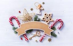 Состав подарка рождества Помадки праздника рождества; украшение Стоковая Фотография RF