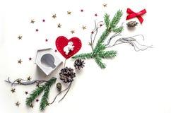 Состав праздника рождества Предпосылка Нового Года для представления работы или текста Красивая поздравительная открытка Стоковое фото RF