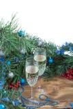 Состав праздника рождества, Шампарь, сосна, decorat орнамента Стоковые Изображения