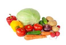 Состав при сырцовые овощи изолированные на белизне Стоковое Фото