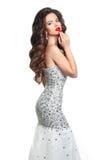 состав Платье модели девушки моды Женщина стиля очарования красоты внутри Стоковая Фотография