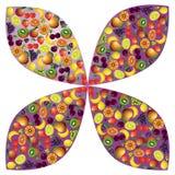 Состав плодоовощей абстрактный, различный значок плодоовощей Стоковая Фотография