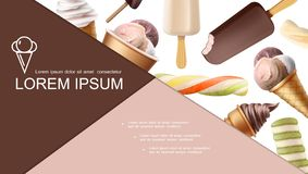 Состав реалистического мороженого красочный иллюстрация вектора