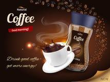 Состав рекламы кофе реалистический иллюстрация штока