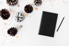 Состав рождества дневника на время рождества конусы и украшения рождества на белой предпосылке Стоковые Изображения RF