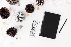 Состав рождества дневника на время рождества конусы и украшения рождества на белой предпосылке Стоковое фото RF