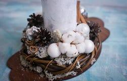 Состав рождества и рождества с свечой Стоковая Фотография