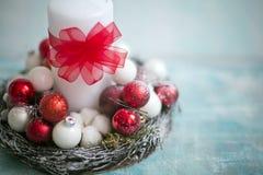 Состав рождества и рождества с свечой Стоковая Фотография RF